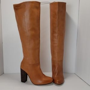Maxgreat Brown Leather Knee High Boots